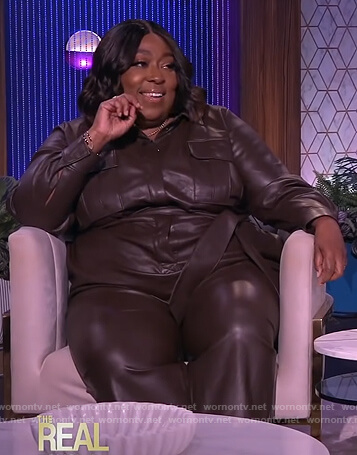 Loni's brown leather jumpsuit on The Real