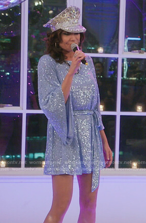 Luann's blue sequin belted dress on The Real Housewives of New York City