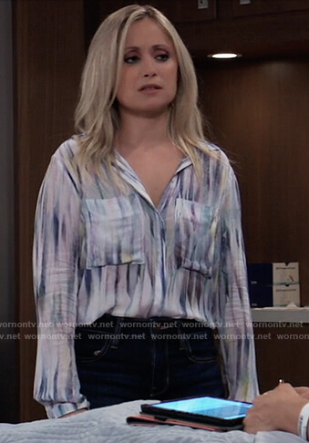 Lulu's feather print blouse on General Hospital
