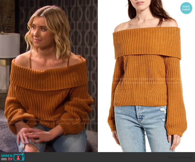 Carmichael Off the Shoulder Sweater by Lulus worn by Claire Brady (Isabel Durant ) on Days of our Lives