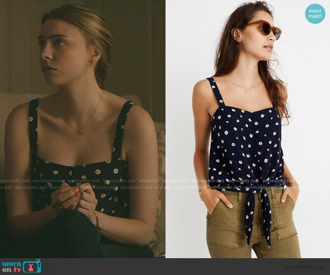 Button-Front Tie Tank in Daisy Dots by Madewell worn by Sterling Wesley (Maddie Phillips) on Teenage Bounty Hunters