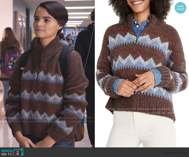 Stowe Fair Isle Half Zip Sweater by Madewell worn by Elodie Davis (Brianna Hildebrand) on Trinkets