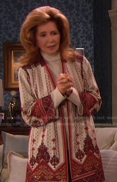 Maggie's white and red embroidered jacket on Days of our Lives