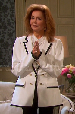 Maggie's white contrast trim blazer on Days of our Lives