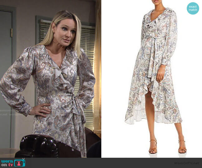 Roxie Ruffled & Striped Paisley Midi Dress by Maje worn by Sharon Collins (Sharon Case) on The Young & the Restless