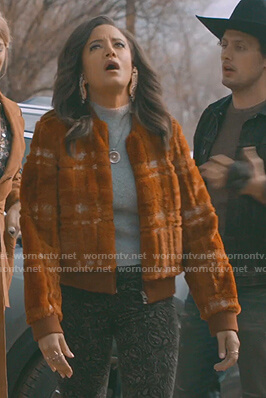 Maria's brown plaid teddy jacket on Roswell New Mexico