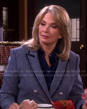 Marlena's blue tweed blazer on Days of our Lives