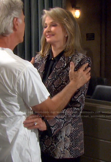 Marlena's snake print blazer on Days of our Lives