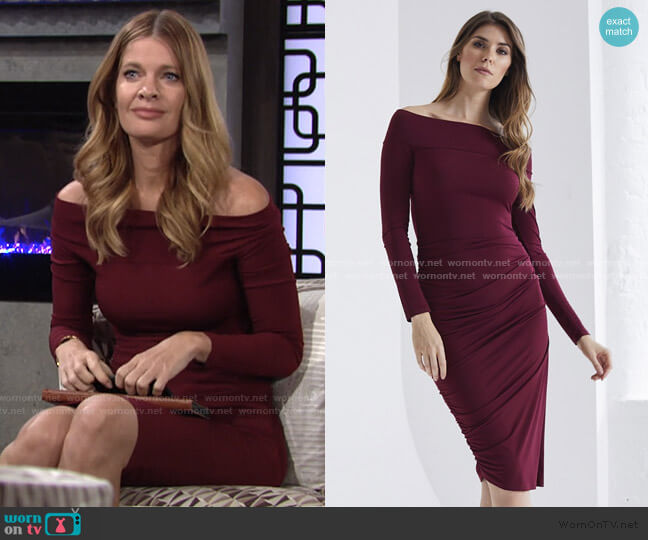 Carte Blanche Bardot Dress by Me & Thee worn by Phyllis Summers (Michelle Stafford) on The Young & the Restless