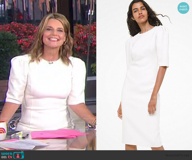 Stretch Bouclé Puff-Sleeve Sheath Dress by Michael Kors worn by Savannah Guthrie  on Today