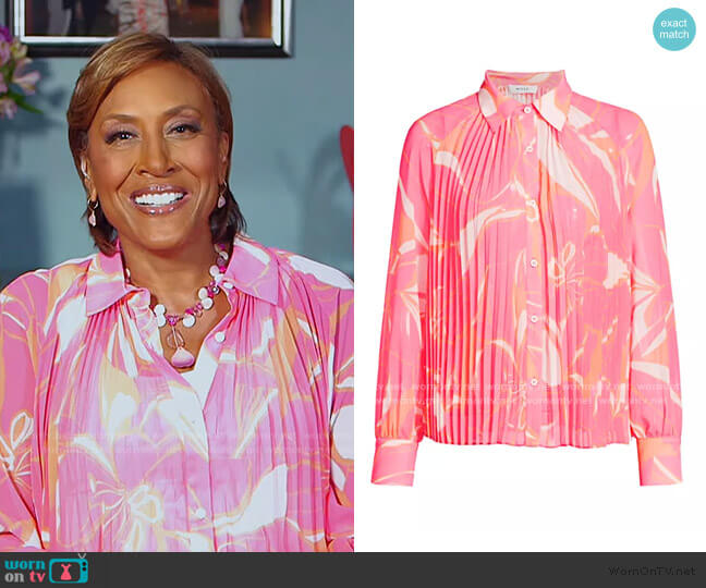 Pleated Stencil Floral Shirt by Milly worn by Robin Roberts  on Good Morning America