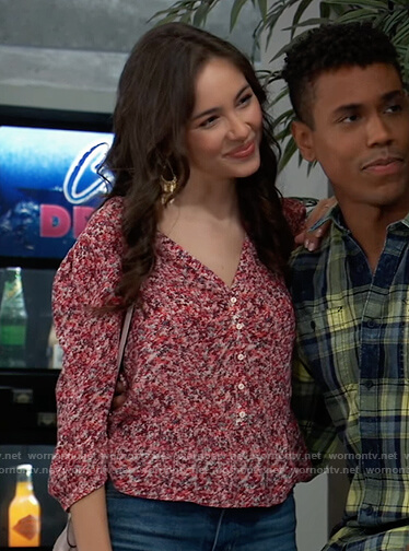 Molly's red floral peplum top on General Hospital