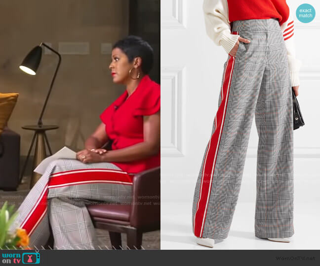 Striped Prince of Wales Checked Wide-Leg Pants by Monse worn by Tamron Hall on GMa