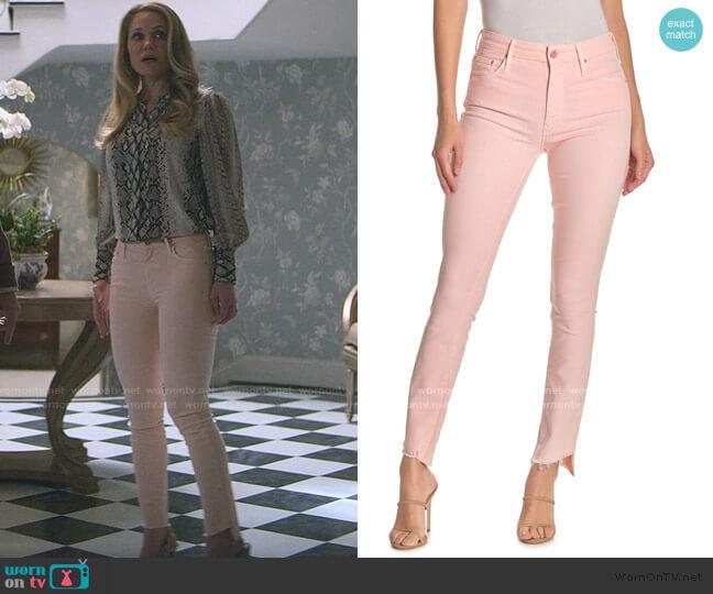 The Looker Frayed Step Hem Ankle Skinny Jeans by Mother worn by Debbie Wesley (Virginia Williams) on Teenage Bounty Hunters