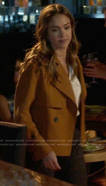 Nancy's orange short trench jacket on LA's Finest