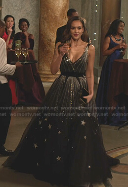 Nancy's black star embellished gown on LA's Finest