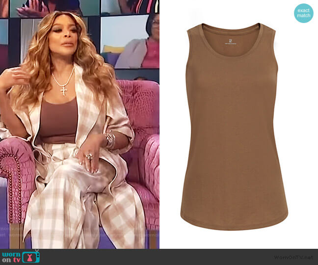 Cotton Scoopneck Tank Top by New York and Company worn by Wendy Williams  on The Wendy Williams Show