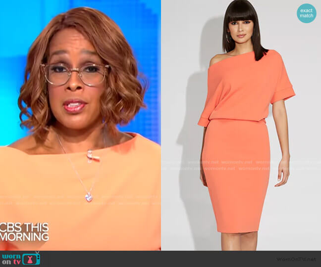 Off-Shoulder Sheath Dress - Gabrielle Union Collection by New York & Company worn by Gayle King  on CBS This Morning