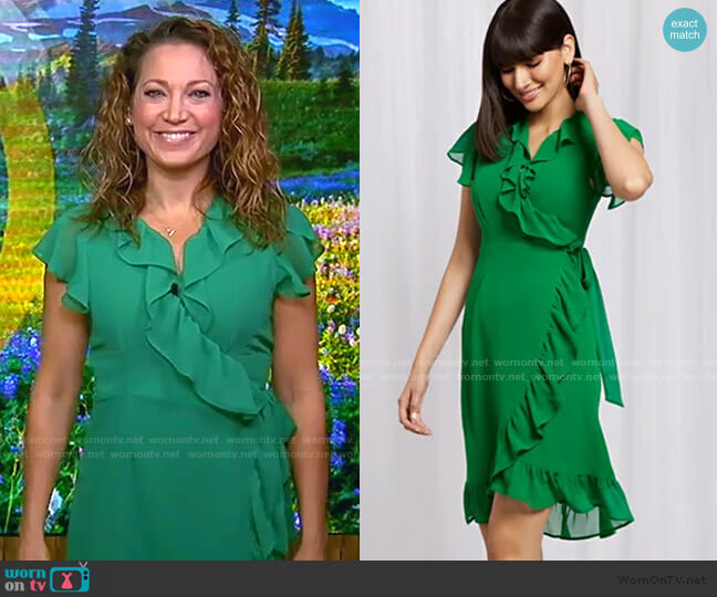 Ruffled Wrap Dress by New York & Company worn by Ginger Zee  on Good Morning America