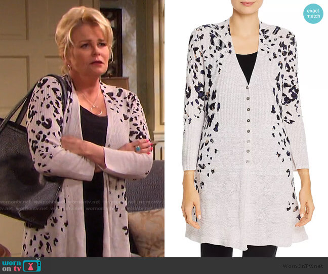 Textured Animal-Print Cardigan by Nic and Zoe worn by Bonnie Lockhart (Judi Evans) on Days of our Lives