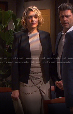 Nicole's beige sleeveless top and wrap skirt on Days of our Lives