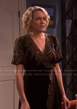 Nicole's black embroidered velvet wrap dress on Days of our Lives