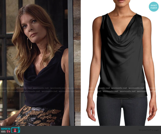 Charmeuse Cowl Neck Blouse by Nicole Miller worn by Phyllis Summers (Michelle Stafford) on The Young & the Restless