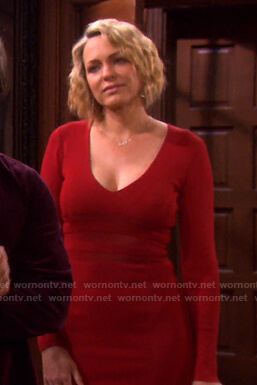 Nicole's red v-neck sheath dress on Days of our Lives
