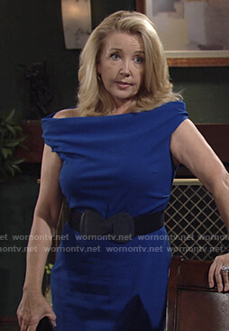 Nikki's blue off-shoulder sheath dress on The Young and the Restless