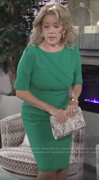 Nikki's green sheath dress and snakeskin clutch on The Young and the Restless