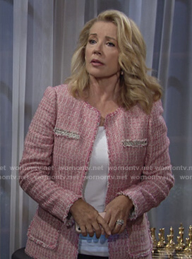 Nikki's pink tweed jacket on The Young and the Restless