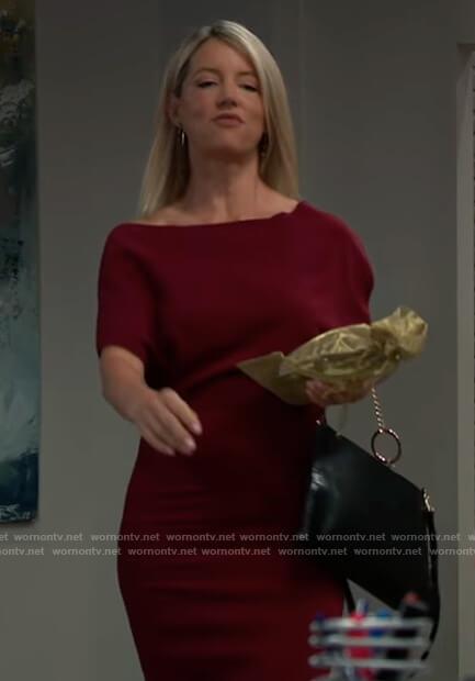 Nina's burgundy off shoulder dress on General Hospital