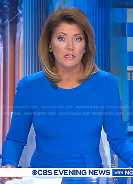 Norah's blue long sleeve dress on CBS Evening News