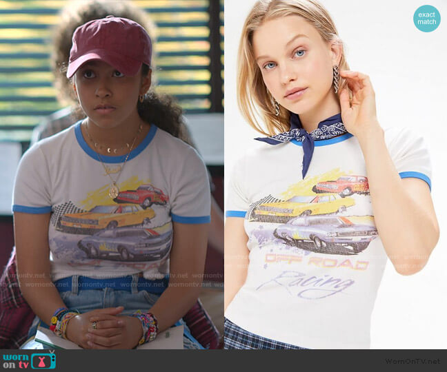 Off Road Racing Ringer Tee by Urban Outfitters worn by Julie (Madison Reyes) on Julie & the Phantoms