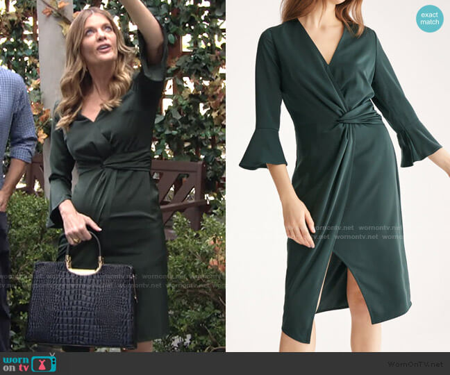 Satin Dress with Twisted Waist & Flared Cuffs by Paisie worn by Phyllis Summers (Michelle Stafford) on The Young & the Restless