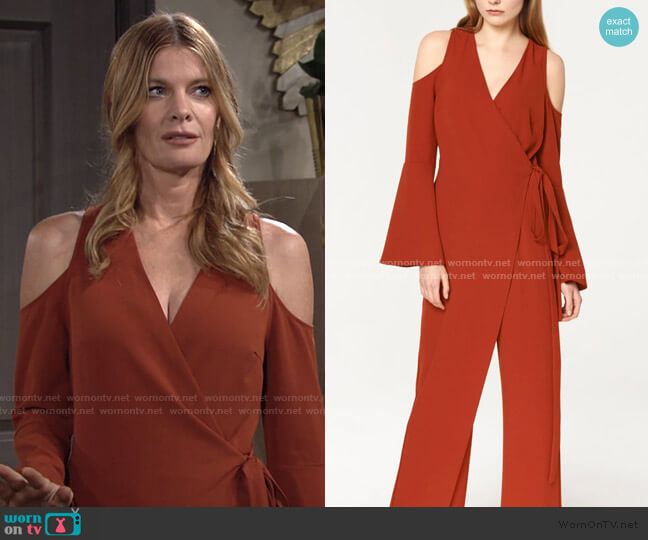 V-Neck Cold Shoulder Jumpsuit With Asymmetric Wrap Front by Paisie worn by Phyllis Summers (Michelle Stafford) on The Young & the Restless
