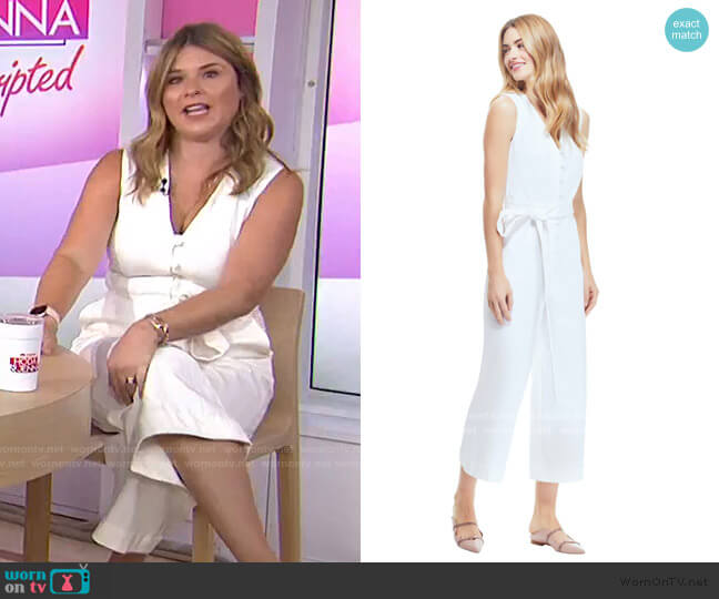 Stretch Cotton Jumpsuit by Pearl by Lela Rose worn by Jenna Bush Hager  on Today
