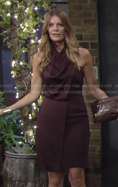 Phyllis's brown cowl neck sleeveless dress on The Young and the Restless