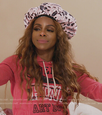 Candiace's pink Art Dept hoodie on The Real Housewives of Potomac