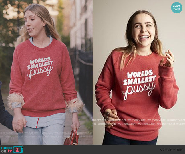 Worlds Smallest Pussy Sweatshirt by Rachel Antonoff worn by Katherine (Katherine Ryan) on The Duchess