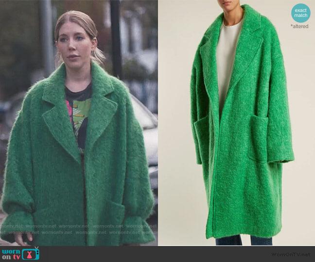 Dropped-shoulder wool-blend blanket coat by Raey worn by Katherine (Katherine Ryan) on The Duchess