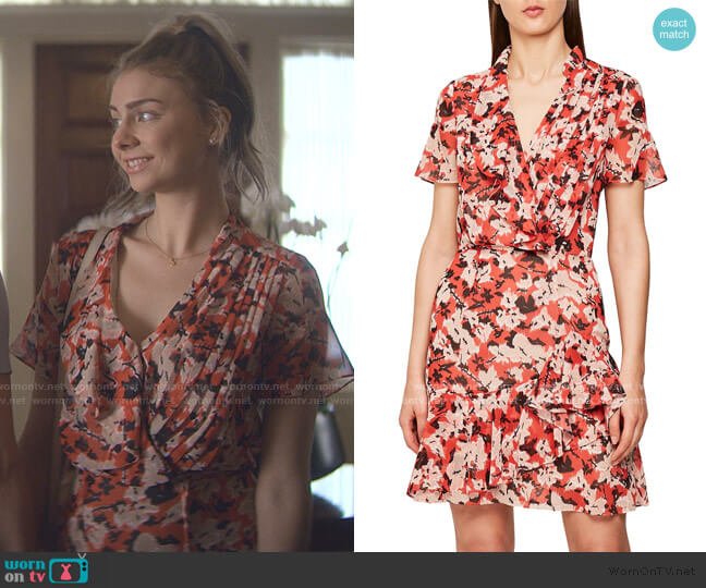 Marseille Floral Ruffle Detail Dress by Reiss worn by Sterling Wesley (Maddie Phillips) on Teenage Bounty Hunters