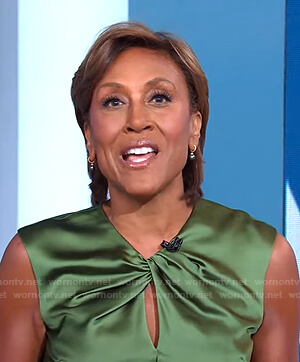 Robin's green twist neck satin dress on Good Morning America