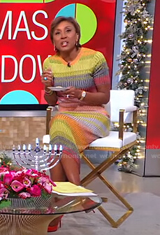Robin's multicolor striped ribbed knit dress on Good Morning America