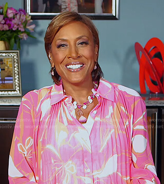 Robin's pink floral pleated blouse on Good Morning America