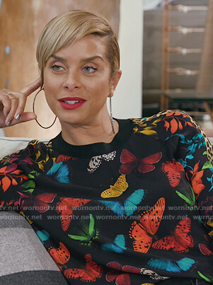 Robyn's black butterfly print sweatshirt on The Real Housewives of Potomac