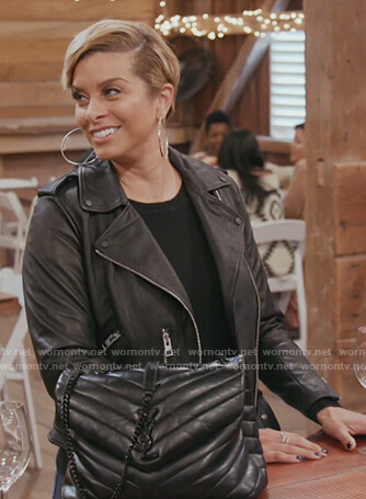 Robyn's black leather moto jacket on The Real Housewives of Potomac
