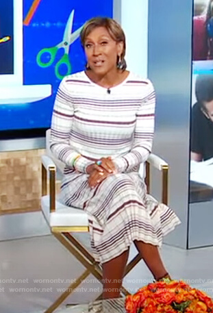 Robin's strip ribbed dress on Good Morning America