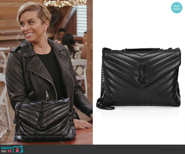 Medium Loulou Matelassé Leather Shoulder Bag by Saint Laurent worn by Robyn Dixon  on The Real Housewives of Potomac