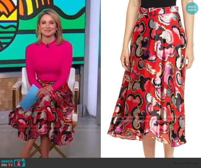 Judith Fil Coupé Midi Skirt by Saloni worn by Amy Robach  on Good Morning America
